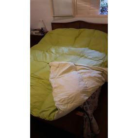 Edredon Plumon Reversible Color Verde Y Beige Arredo