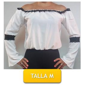 Blusa Tipo Llanera Blanca Con Negro Manga Larga Talla M
