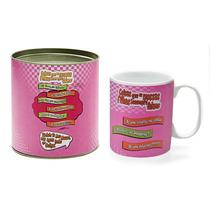 Caneca Coisas De Filha Rosa Com Tubete 300 Ml Em Porcelana