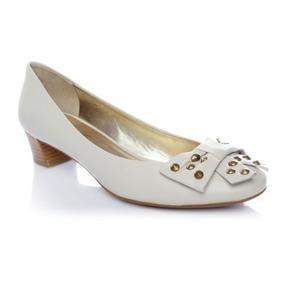 Zapato Gacel Taco Bajo Color Ivory Nuevos 100% Cuero
