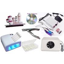 Kit Unha Gel Dvd Aspirador+cabine+300 Tips+lixadeira+alicate