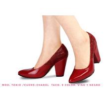 Zapatos De Mujer Cuero Vestir Moda, 100%cuero, Taco 9
