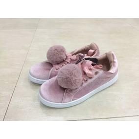 Zapatos Terciopelo Con Pompones