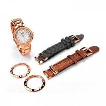 Relógio Dumont Vip Com 3 Pulseiras - Sk49004/h
