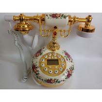 Telefone Fixo C/ Fio,porcelana Redondo,vintage Antigo