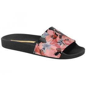 Chinelo Slide Moleca Preto Com Tiras Floral - 5414.101