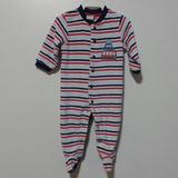 Macacão Listrado Fusca Plush Algodão Bebê 0-3 Rn