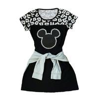 Vestido Feminino Preto Aplicação Mickey Em Couro E Pérolas