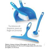 Set De Limpieza 4 Piezas Plastico Azul