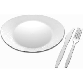 Kit Prato+garfo+faca Refeição Acrílico Branco 100und D Cada
