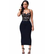 Sexy Vestido Negro Encaje Fiesta Casual Elegante Antro 60940