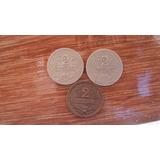 Uruguay. Lote De 3 Monedas De 2 Centésimos. Varios Años