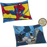 Kit 2 Fronhas 1 Do Homem Aranha Spider Man + 1 Do Batman