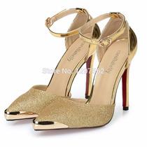 Sapato Feminino Casamento Luxo Dourado Bico Fino Elegante