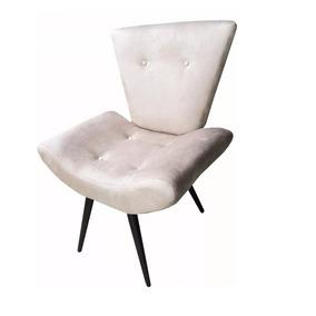 Cadeira Estofada Para Corredor Tipo Poltrona Em Suede Bege
