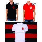 Kit 3 Camisetas Gola Polo Com O Símbolo Do Flamengo