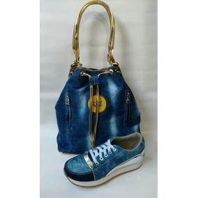 Combo Zapato Deportivo Jeans + Bolso Jeans Dama Envío Gratis