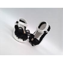 A124 Sapatinho Croche Branco Feminino Bebe Enxoval Menina