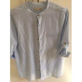 Camisa Cambraia De Linho Azul Bebê Zara N. 13/14