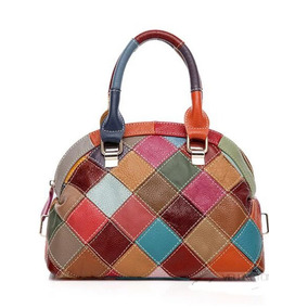 Cartera Bolso De Cuero Genuino Multicolor