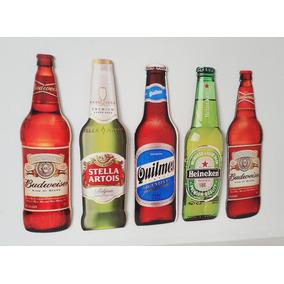 Kit 5 Placas Decorativas Realismo - Tema Cervejas
