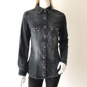 Camisa Blusa Jeans Feminina Estica Preta Manga Longa Nova