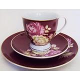 Xícara Café / Chá E Prato De Pão Porcelana Polovi Vermelha