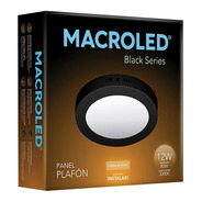 Macroled Panel Plafón Redondo Led 12w Cálido Black Npr12
