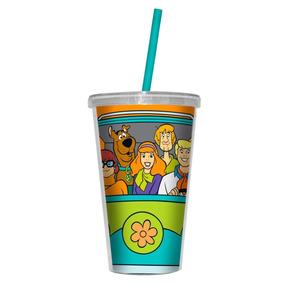Copo Acrílico Canudo - Turma Scooby Doo Hanna Barbera 500ml