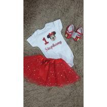 Minnie Vermelha Conjunto Roupa Festa Aniversário Minnie