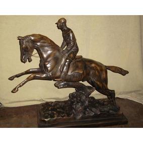 Estatua Equitación Caballo Saltando Petit Bronce!! Excelente