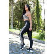 Conjunto Fitness Strong, Legging Com Tela, Top Com Tela