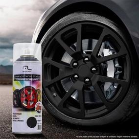 Kit 4 Spray Envelopamento Líquido Plástico Rodas Preto Fosco
