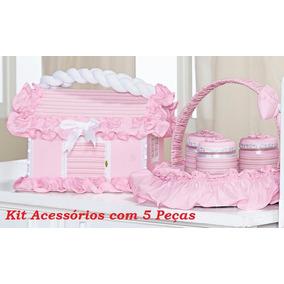 Kit Higiene Bebê Acessórios 5 Peças Quarto De Menina Rosa