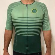 Camisa Bike Aos Pedaços, Modelo Listras E Colméias, Tam Gg