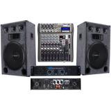Equipo De Sonido Dos Bafles De 15 Potencia Y Consola De 8