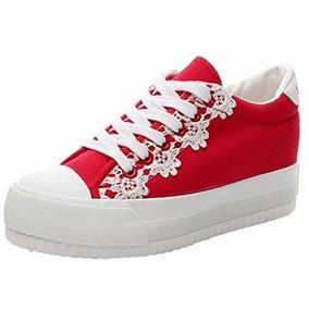 Zapato Plataforma Tipo Importados Rojo Talla 36 / 23 Cmts