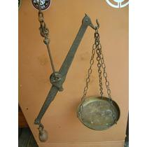 Balança De Varão Muito Antiga Ferro Forjado E Bronze Complet