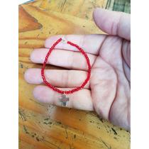 Pulsera Protección Personal Cristales Rojos Con Cruz Plata