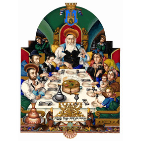 Lienzo Tela Canvas Arte Judío Familia En Seder 1935 107 X 80