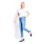 Calça Jeans Feminina Esportiva Skinny Cintura Alta