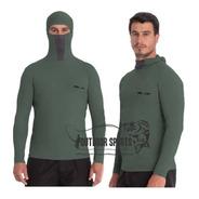 Camisa Proteção Uv Ninja Verde Militar Pesca Protege  Inseto