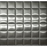 Pastilha De Aço Inox 5x5cm Escovado Placa 30x30cm- Dm Mosaic