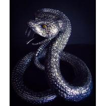 Escultura Vibora De Cascabel Plata 999 Figura Serpiente