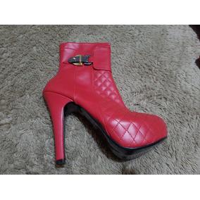 Botasbotines De Piel Rojas, Talla 4 Para Mujer