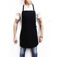 Delantal Gabardina Negra Cocina Uniforme Oficios