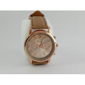 Relógio Feminino Geneva Vintage Pulseira Em Couro