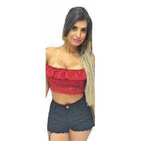 Top Cropped Panicat Renda Juju Verão Tiras Bojo Princesa