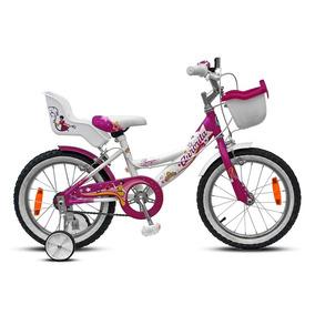 Bicicleta Rodado 16 Aurora Princesa Fucsia Con Blanco