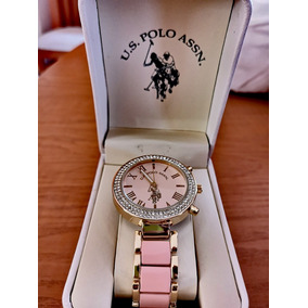 Oferta!!! U.s. Polo Assn Reloj Con Brazalete Dorado/rosa